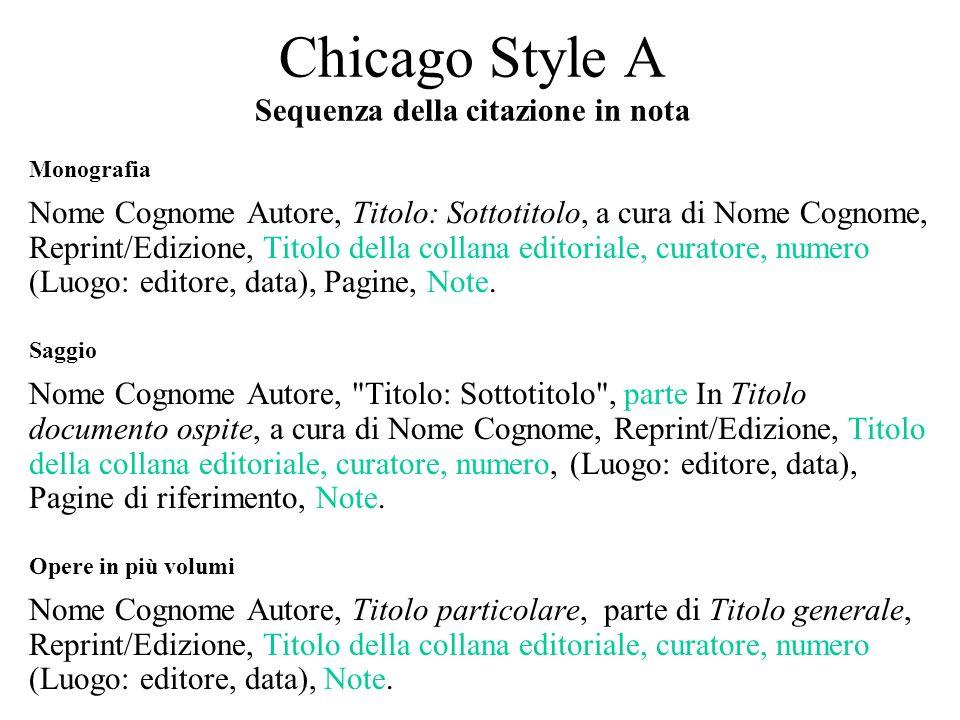 Chicago Style A Sequenza della citazione in nota Monografia Nome Cognome Autore, Titolo: Sottotitolo, a cura di Nome Cognome, Reprint/Edizione, Titolo