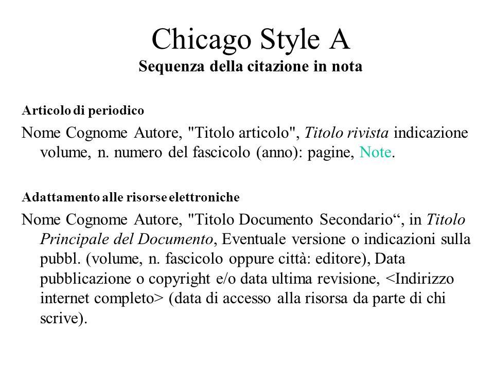 Articolo di periodico Nome Cognome Autore, Titolo articolo , Titolo rivista indicazione volume, n.