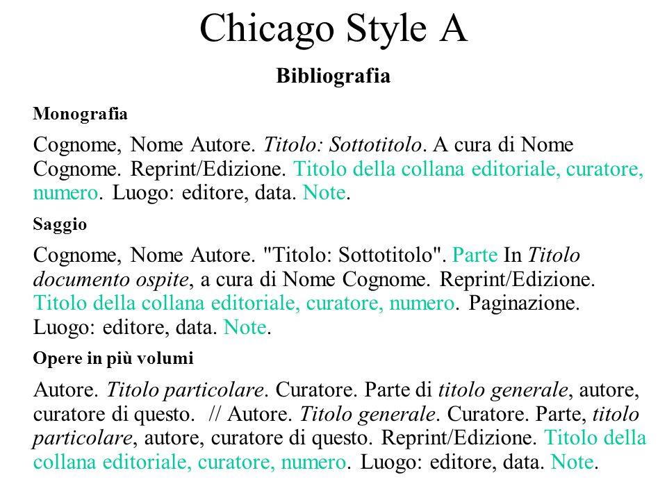 Chicago Style A Bibliografia Monografia Cognome, Nome Autore. Titolo: Sottotitolo. A cura di Nome Cognome. Reprint/Edizione. Titolo della collana edit