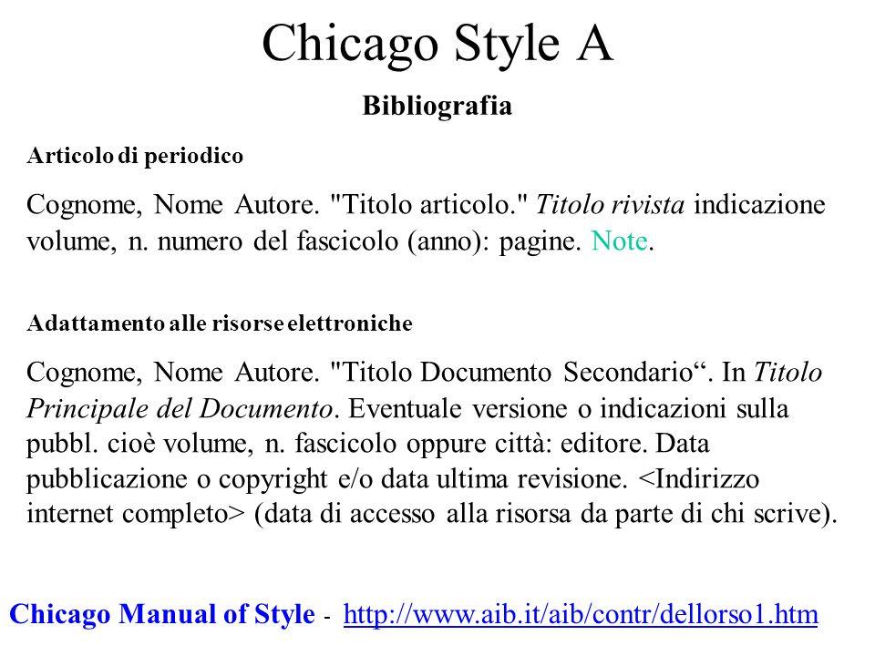Chicago Style A Bibliografia Articolo di periodico Cognome, Nome Autore.