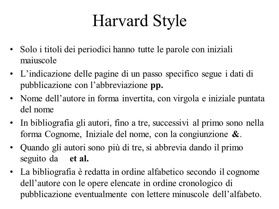 Harvard Style Solo i titoli dei periodici hanno tutte le parole con iniziali maiuscole Lindicazione delle pagine di un passo specifico segue i dati di pubblicazione con labbreviazione pp.