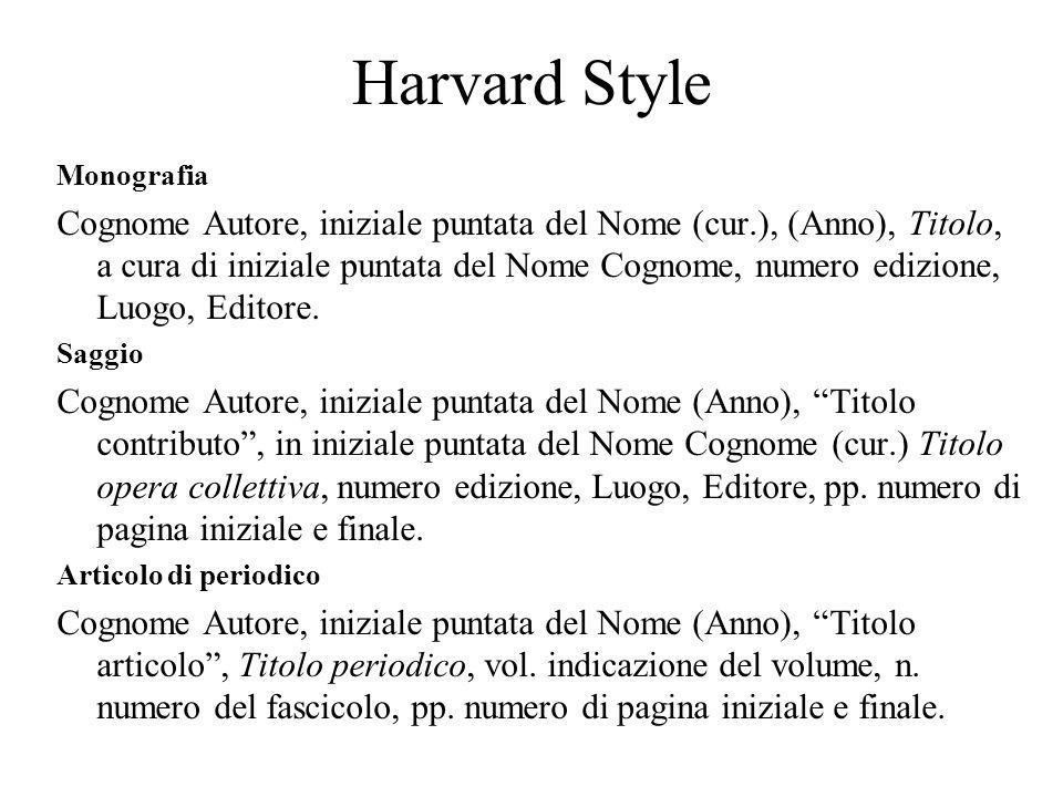 Harvard Style Monografia Cognome Autore, iniziale puntata del Nome (cur.), (Anno), Titolo, a cura di iniziale puntata del Nome Cognome, numero edizione, Luogo, Editore.