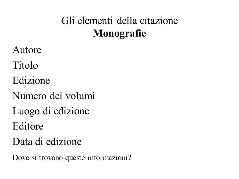 Gli elementi della citazione Monografie Autore Titolo Edizione Numero dei volumi Luogo di edizione Editore Data di edizione Dove si trovano queste informazioni?