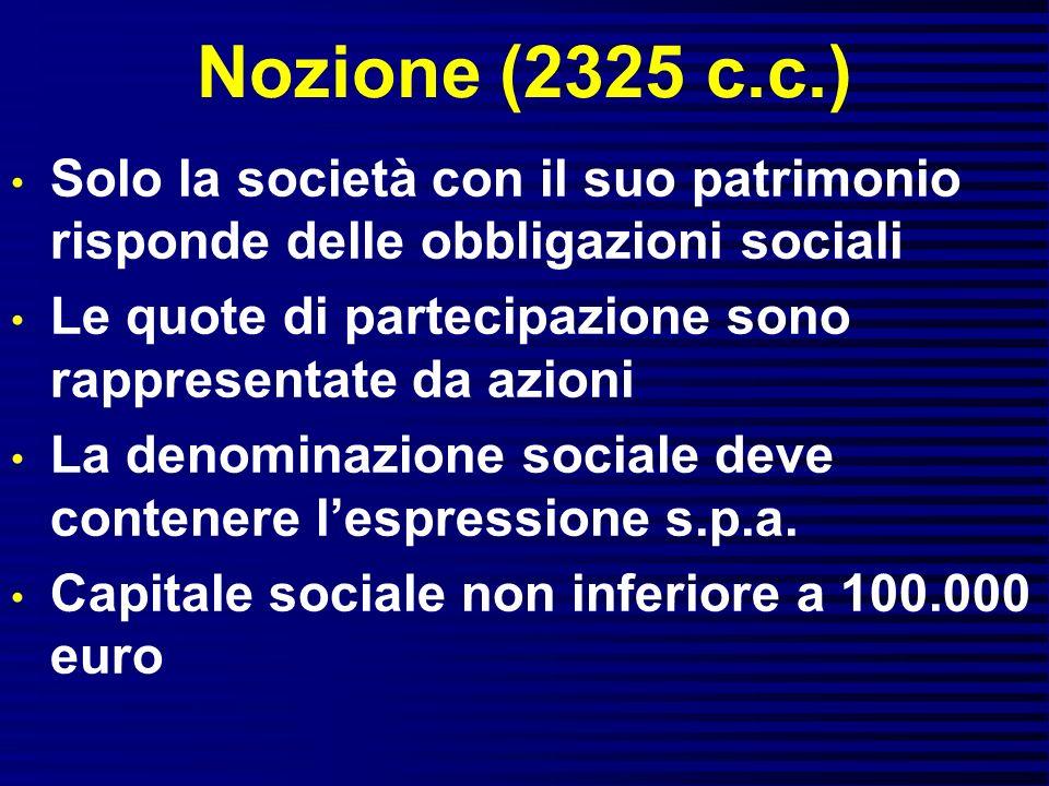 Nozione (2325 c.c.) Solo la società con il suo patrimonio risponde delle obbligazioni sociali Le quote di partecipazione sono rappresentate da azioni