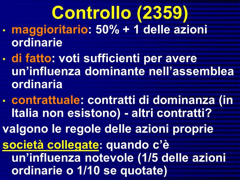 Controllo (2359) maggioritario: 50% + 1 delle azioni ordinarie di fatto: voti sufficienti per avere uninfluenza dominante nellassemblea ordinaria cont