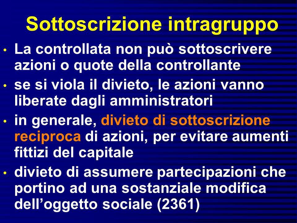 Sottoscrizione intragruppo La controllata non può sottoscrivere azioni o quote della controllante se si viola il divieto, le azioni vanno liberate dag