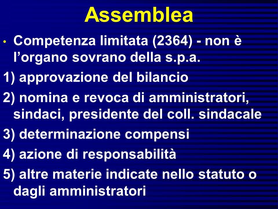 Assemblea Competenza limitata (2364) - non è lorgano sovrano della s.p.a. 1) approvazione del bilancio 2) nomina e revoca di amministratori, sindaci,