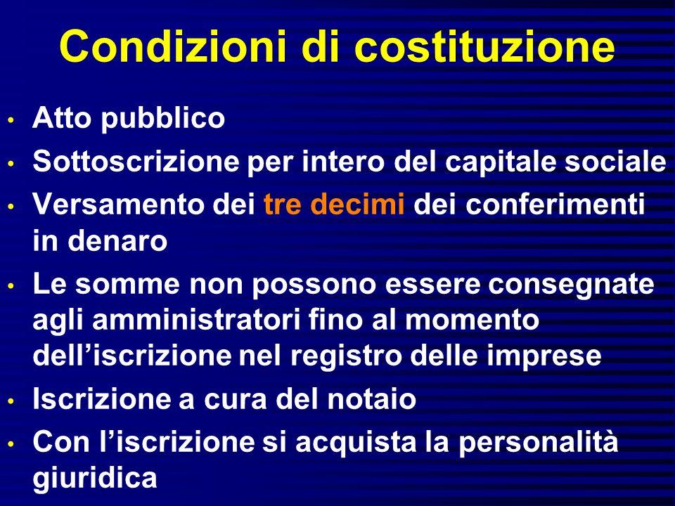 Condizioni di costituzione Atto pubblico Sottoscrizione per intero del capitale sociale Versamento dei tre decimi dei conferimenti in denaro Le somme