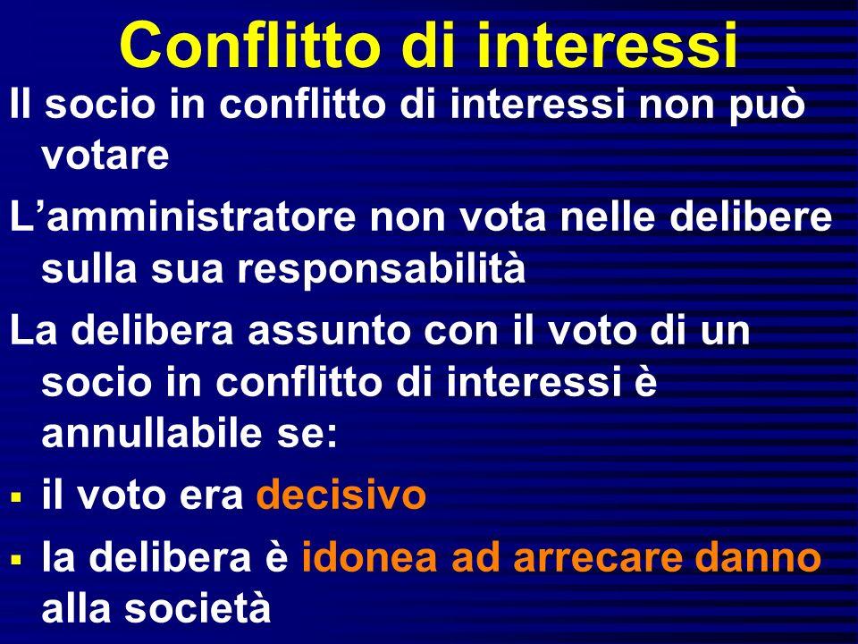 Conflitto di interessi Il socio in conflitto di interessi non può votare Lamministratore non vota nelle delibere sulla sua responsabilità La delibera
