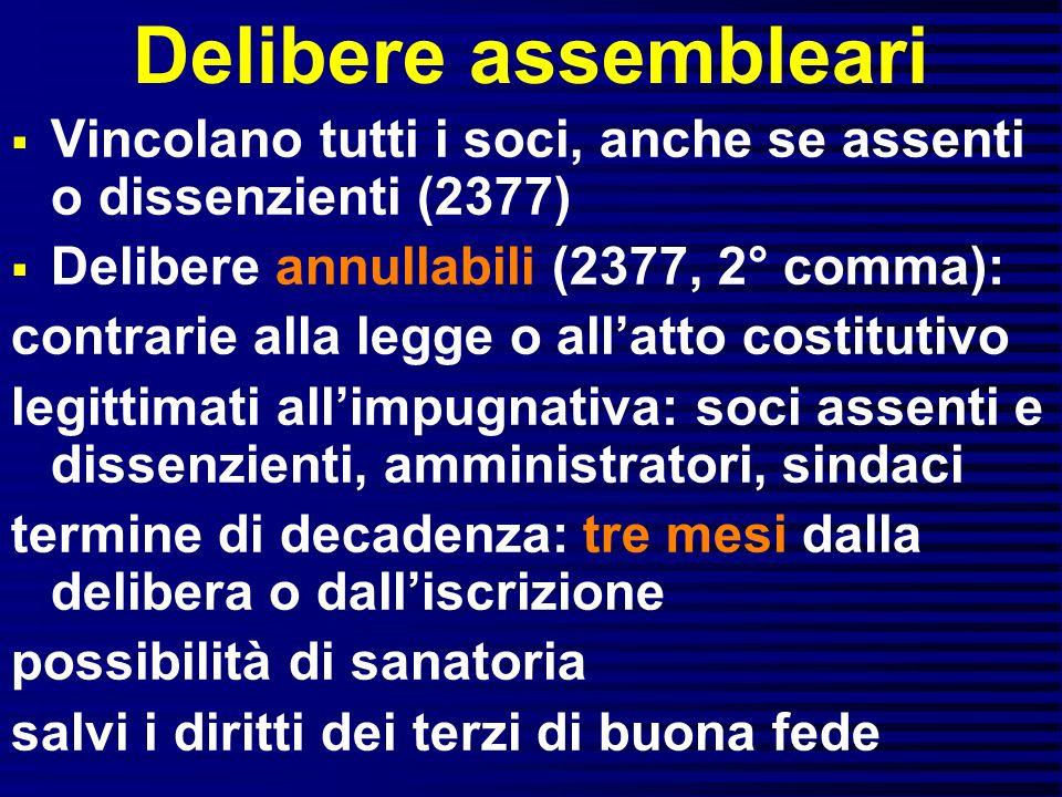 Delibere assembleari Vincolano tutti i soci, anche se assenti o dissenzienti (2377) Delibere annullabili (2377, 2° comma): contrarie alla legge o alla