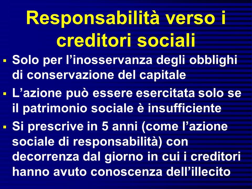 Responsabilità verso i creditori sociali Solo per linosservanza degli obblighi di conservazione del capitale Lazione può essere esercitata solo se il
