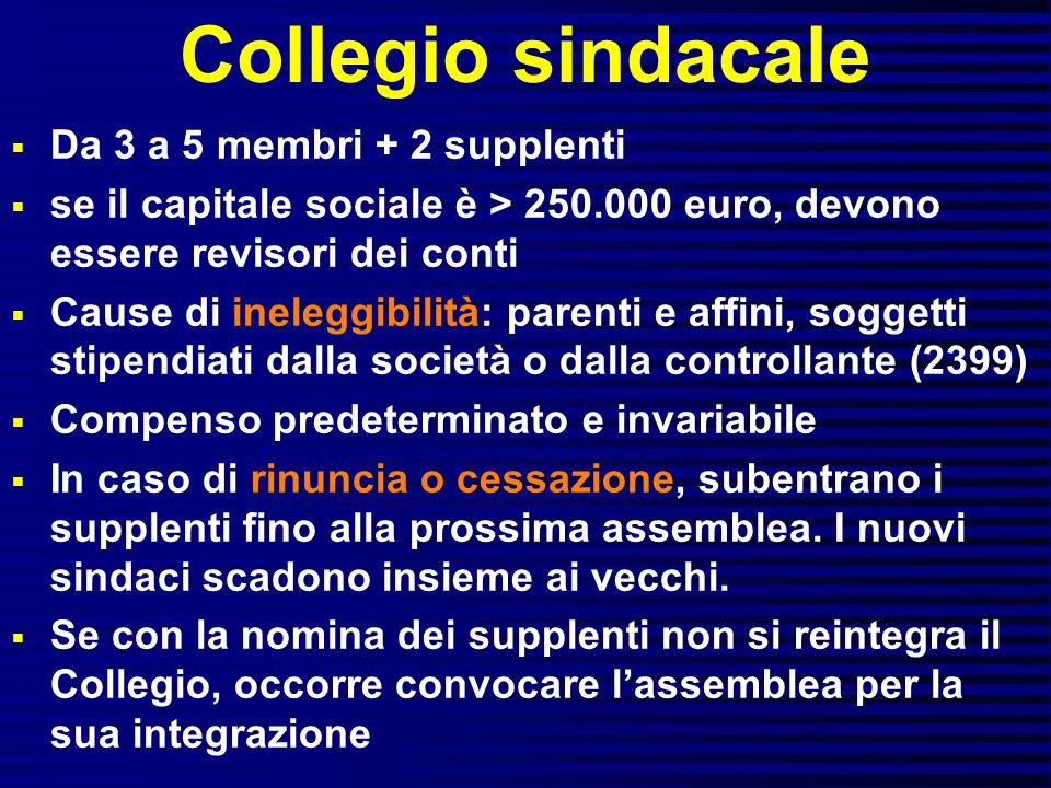 Collegio sindacale Da 3 a 5 membri + 2 supplenti se il capitale sociale è > 250.000 euro, devono essere revisori dei conti Cause di ineleggibilità: pa