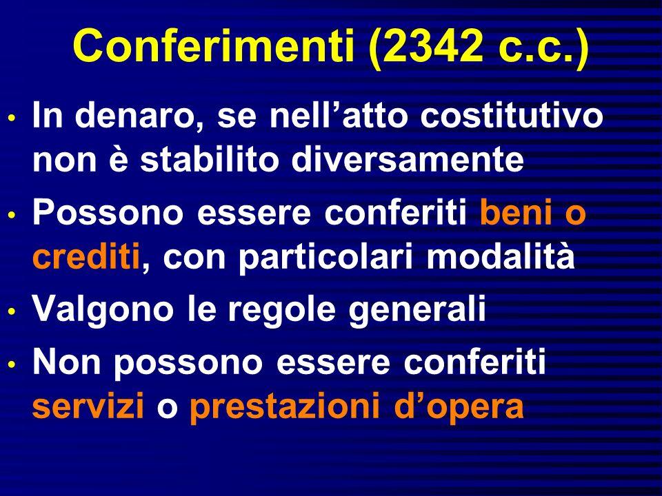 Conferimenti (2342 c.c.) In denaro, se nellatto costitutivo non è stabilito diversamente Possono essere conferiti beni o crediti, con particolari moda