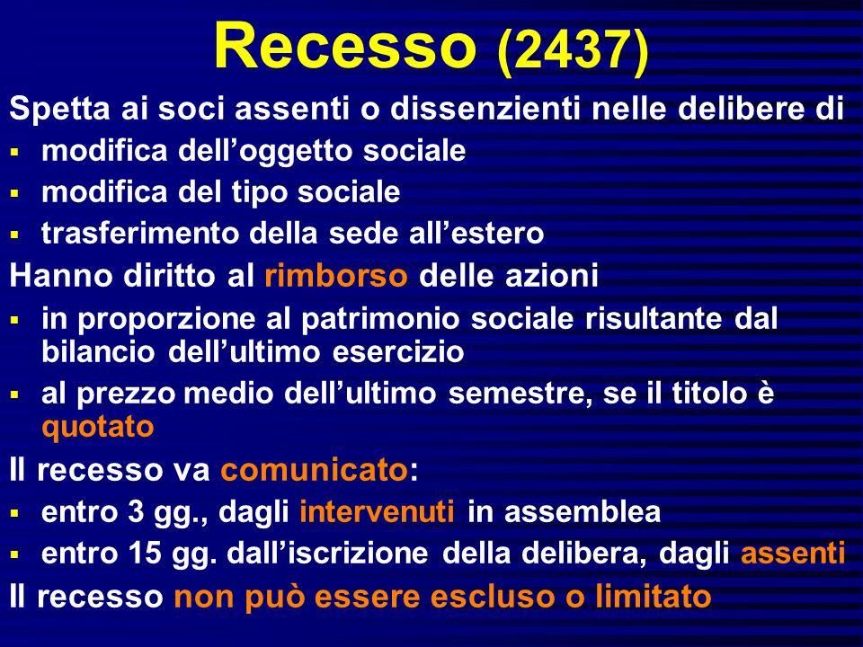 Recesso (2437) Spetta ai soci assenti o dissenzienti nelle delibere di modifica delloggetto sociale modifica del tipo sociale trasferimento della sede