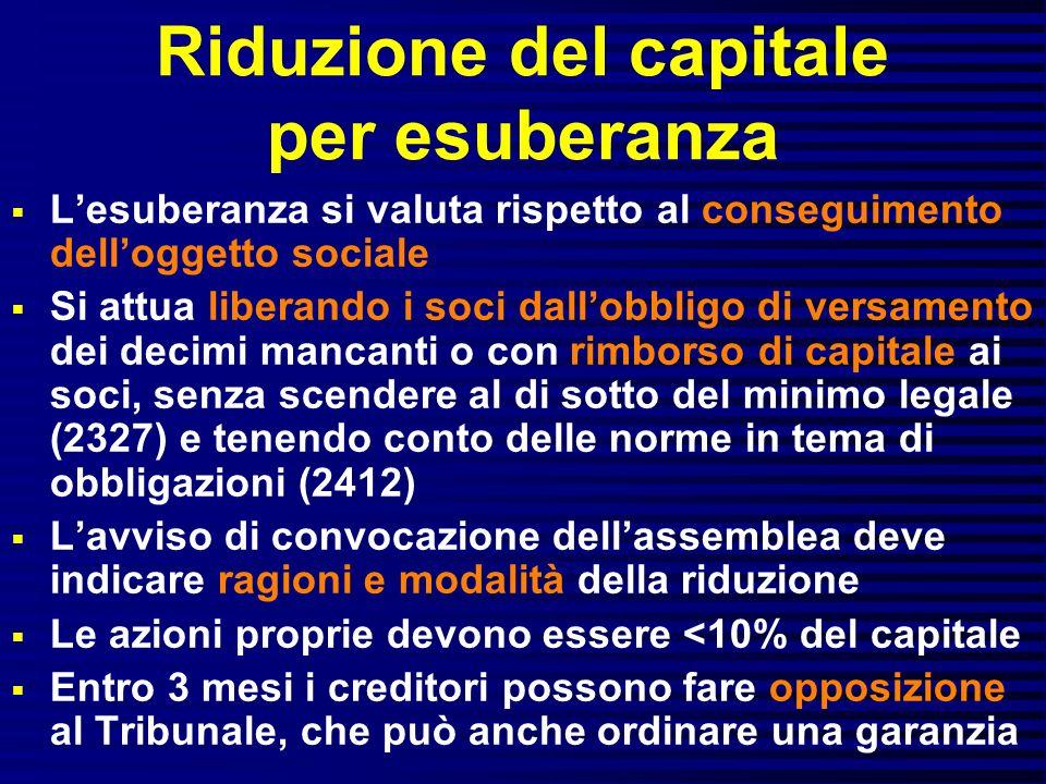 Riduzione del capitale per esuberanza Lesuberanza si valuta rispetto al conseguimento delloggetto sociale Si attua liberando i soci dallobbligo di ver