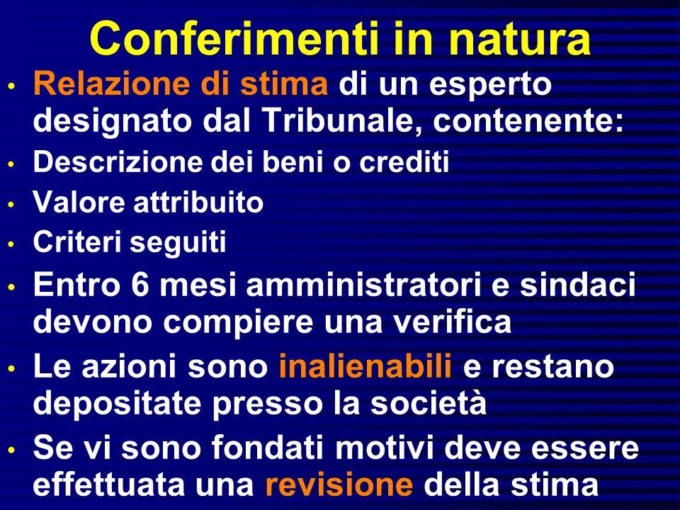 Conferimenti in natura Relazione di stima di un esperto designato dal Tribunale, contenente: Descrizione dei beni o crediti Valore attribuito Criteri