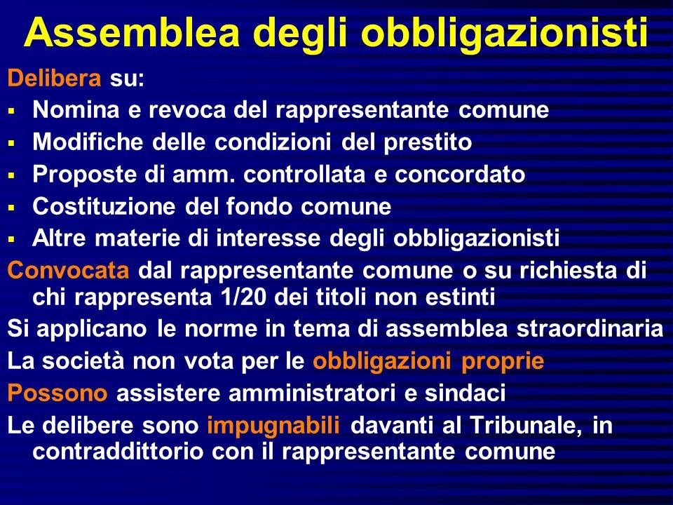 Assemblea degli obbligazionisti Delibera su: Nomina e revoca del rappresentante comune Modifiche delle condizioni del prestito Proposte di amm. contro