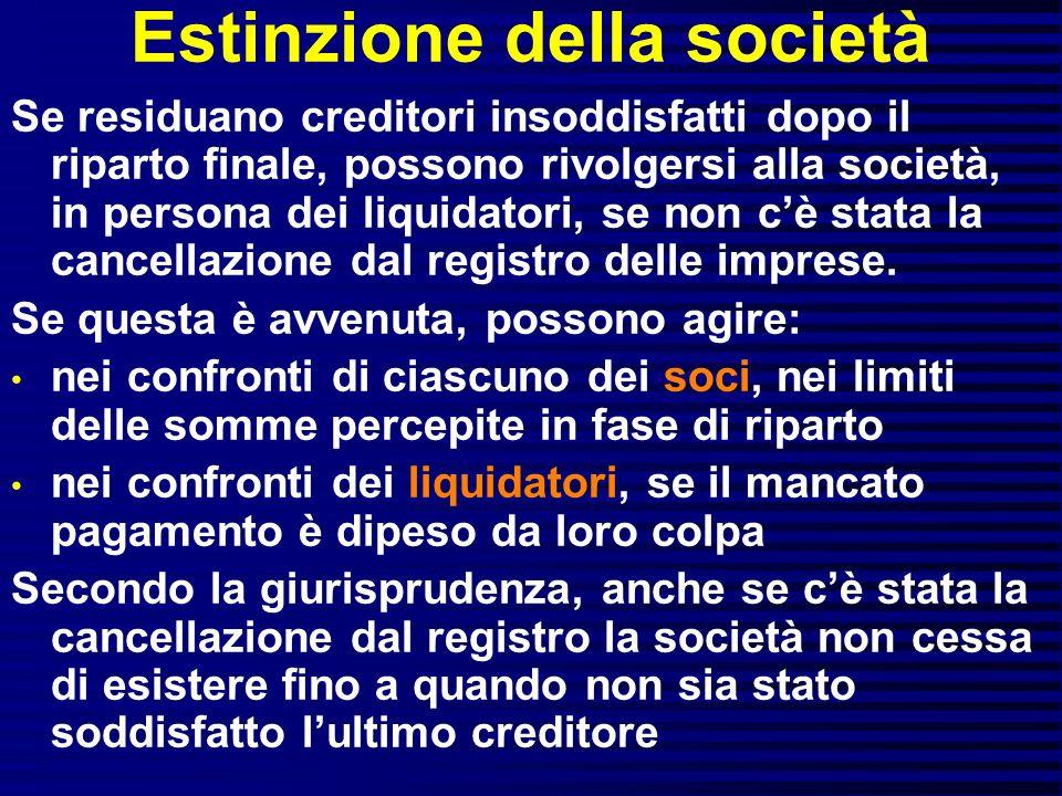 Estinzione della società Se residuano creditori insoddisfatti dopo il riparto finale, possono rivolgersi alla società, in persona dei liquidatori, se