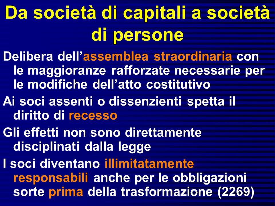 Da società di capitali a società di persone Delibera dellassemblea straordinaria con le maggioranze rafforzate necessarie per le modifiche dellatto co