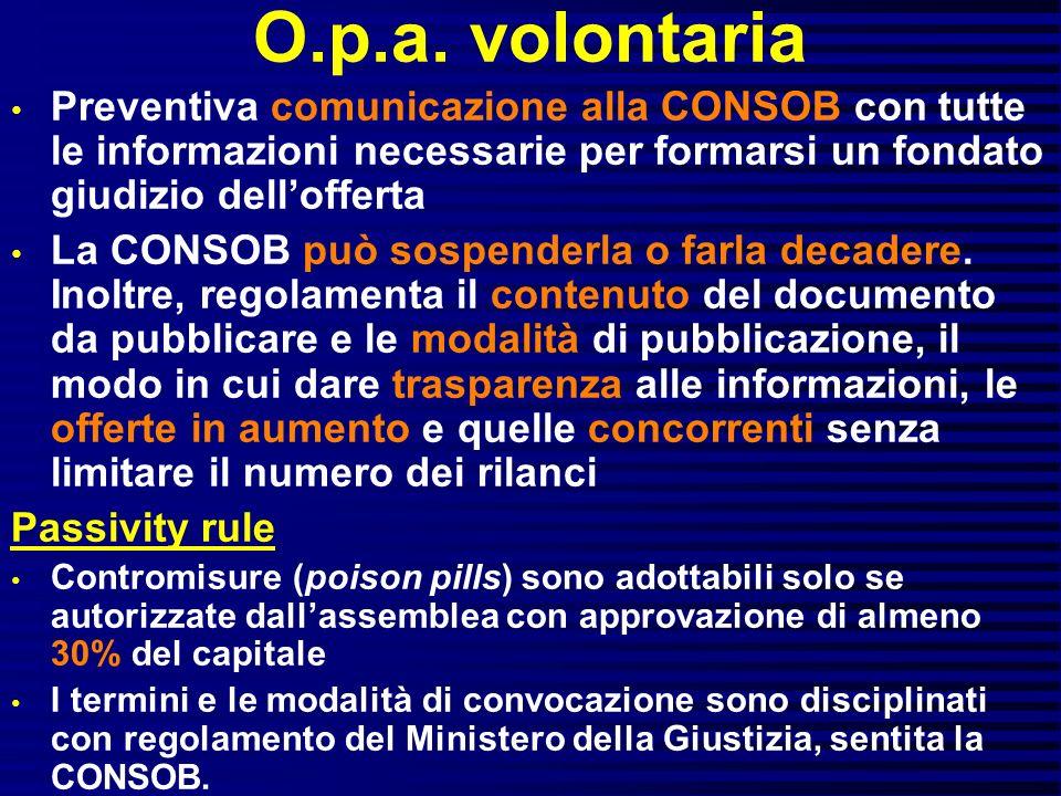 O.p.a. volontaria Preventiva comunicazione alla CONSOB con tutte le informazioni necessarie per formarsi un fondato giudizio dellofferta La CONSOB può