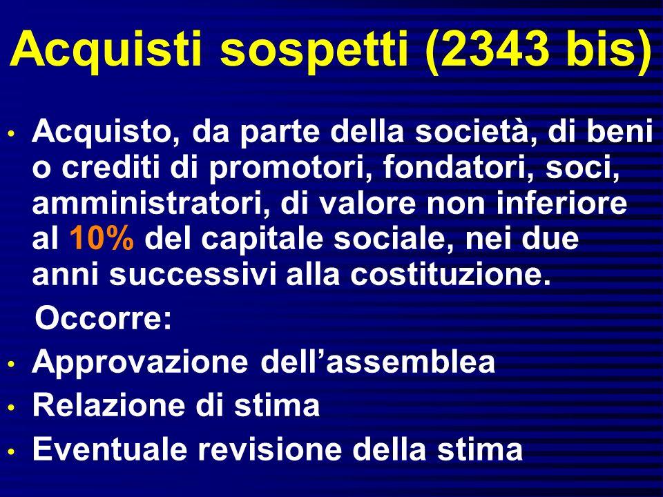 Acquisti sospetti (2343 bis) Acquisto, da parte della società, di beni o crediti di promotori, fondatori, soci, amministratori, di valore non inferior