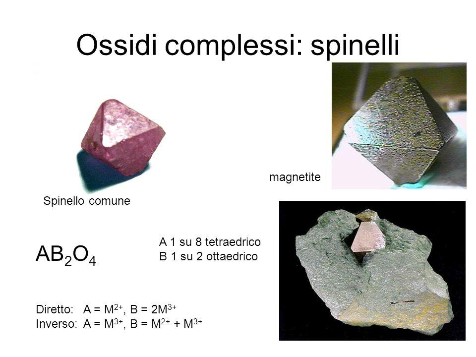 Ossidi complessi: spinelli Spinello comune magnetite AB 2 O 4 A 1 su 8 tetraedrico B 1 su 2 ottaedrico Diretto: A = M 2+, B = 2M 3+ Inverso: A = M 3+,
