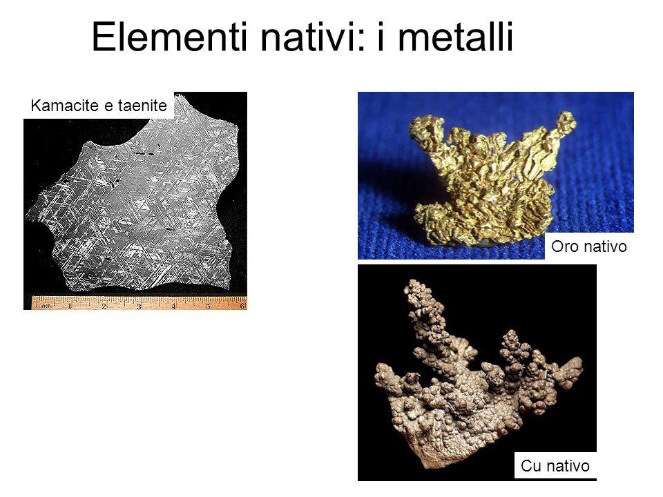 Kamacite e taenite Oro nativo Elementi nativi: i metalli Cu nativo
