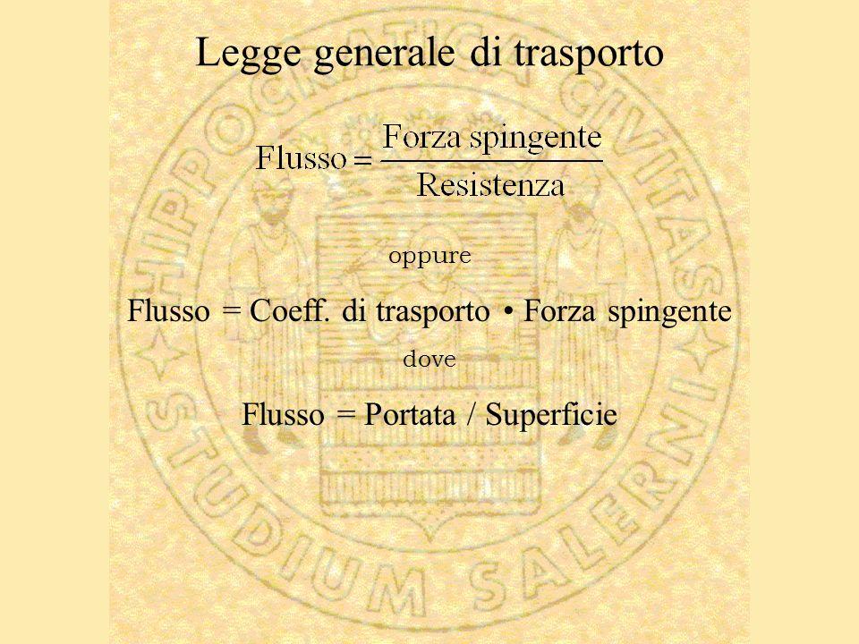 Legge generale di trasporto oppure Flusso = Coeff. di trasporto Forza spingente dove Flusso = Portata / Superficie
