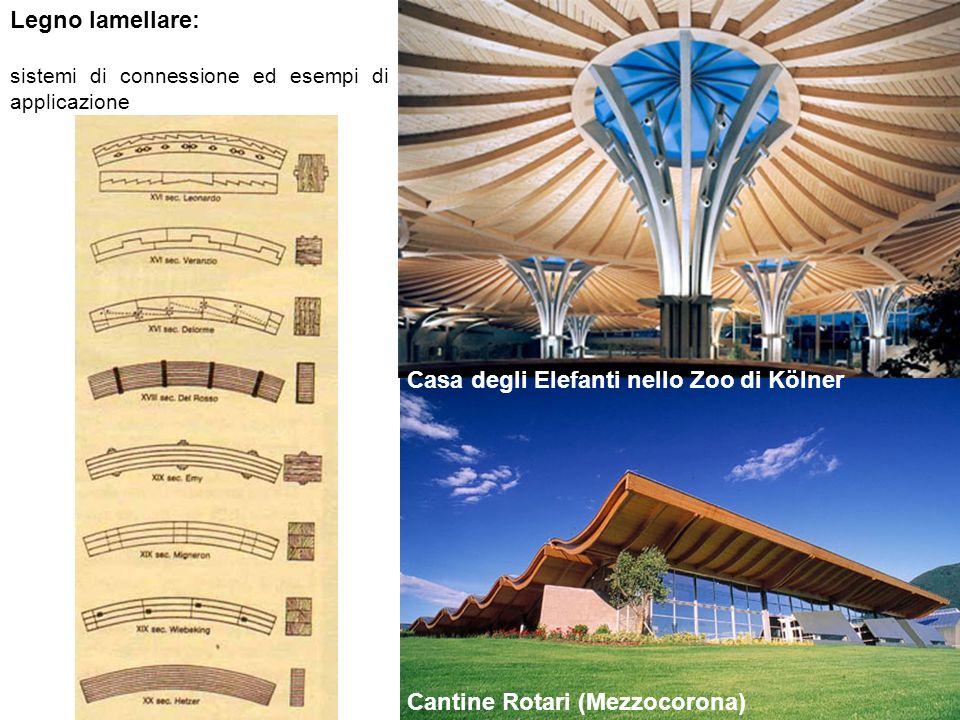 Legno lamellare: sistemi di connessione ed esempi di applicazione Cantine Rotari (Mezzocorona) Casa degli Elefanti nello Zoo di Kölner