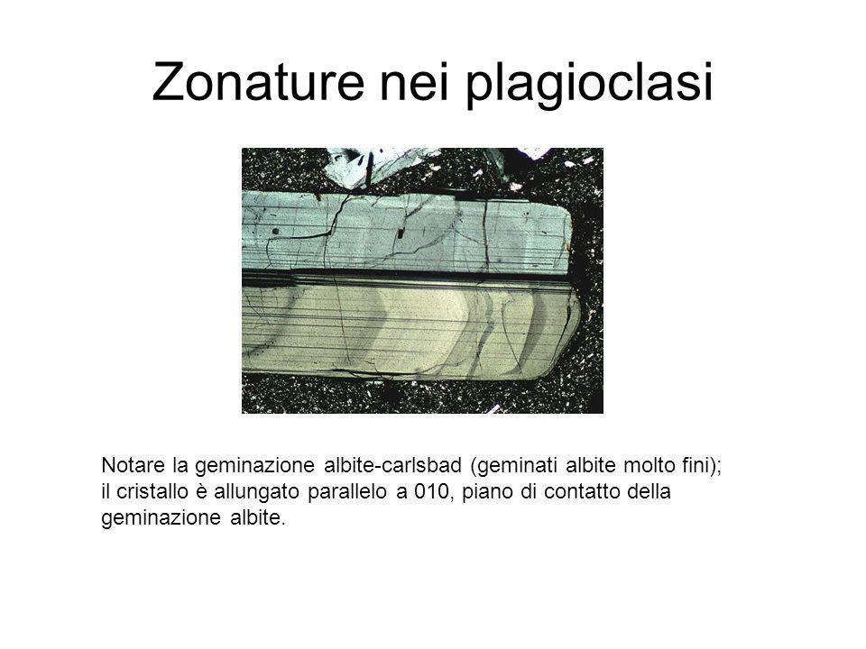 Zonature nei plagioclasi Notare la geminazione albite-carlsbad (geminati albite molto fini); il cristallo è allungato parallelo a 010, piano di contat