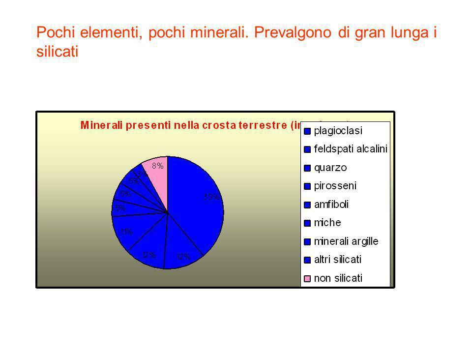 Pochi elementi, pochi minerali. Prevalgono di gran lunga i silicati