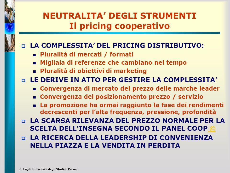 G. Lugli Università degli Studi di Parma NEUTRALITA DEGLI STRUMENTI Il pricing cooperativo LA COMPLESSITA DEL PRICING DISTRIBUTIVO: Pluralità di merca