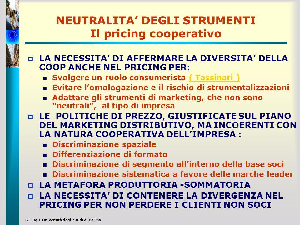 G. Lugli Università degli Studi di Parma NEUTRALITA DEGLI STRUMENTI Il pricing cooperativo LA NECESSITA DI AFFERMARE LA DIVERSITA DELLA COOP ANCHE NEL