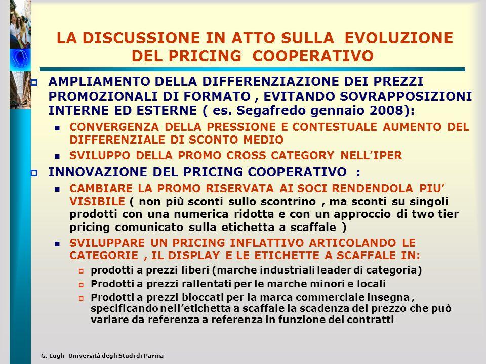 G. Lugli Università degli Studi di Parma LA DISCUSSIONE IN ATTO SULLA EVOLUZIONE DEL PRICING COOPERATIVO AMPLIAMENTO DELLA DIFFERENZIAZIONE DEI PREZZI