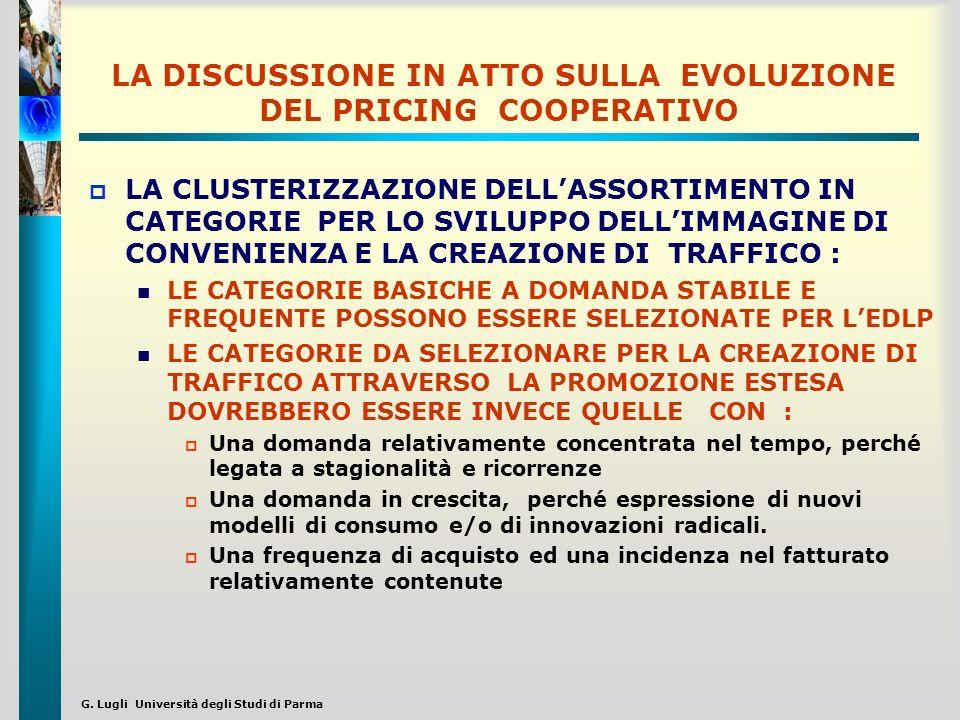G. Lugli Università degli Studi di Parma LA DISCUSSIONE IN ATTO SULLA EVOLUZIONE DEL PRICING COOPERATIVO LA CLUSTERIZZAZIONE DELLASSORTIMENTO IN CATEG