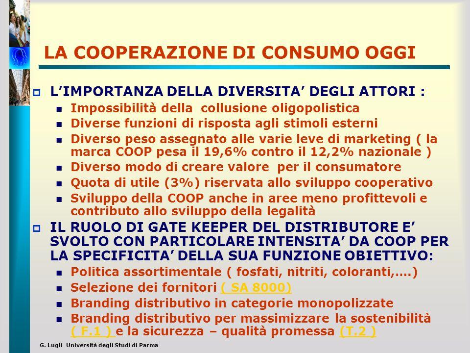 G. Lugli Università degli Studi di Parma LA COOPERAZIONE DI CONSUMO OGGI LIMPORTANZA DELLA DIVERSITA DEGLI ATTORI : Impossibilità della collusione oli