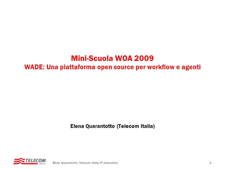 Elena Quarantotto, Telecom Italia/IT Innovation 2 Piattaforma JADE – principali caratteristiche Piattaforma WADE – workflow e amministrazione Creazione di applicazione di esempio WADE-based con lausilio di WOLF Agenda