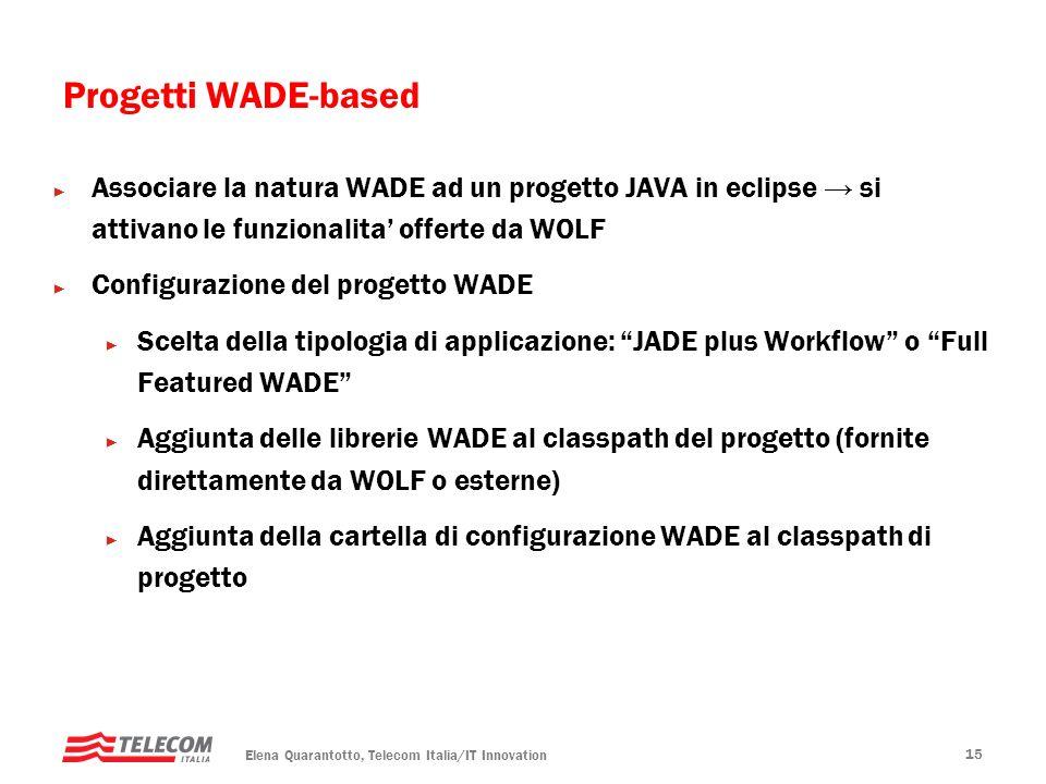 Elena Quarantotto, Telecom Italia/IT Innovation 15 Associare la natura WADE ad un progetto JAVA in eclipse si attivano le funzionalita offerte da WOLF Configurazione del progetto WADE Scelta della tipologia di applicazione: JADE plus Workflow o Full Featured WADE Aggiunta delle librerie WADE al classpath del progetto (fornite direttamente da WOLF o esterne) Aggiunta della cartella di configurazione WADE al classpath di progetto Progetti WADE-based
