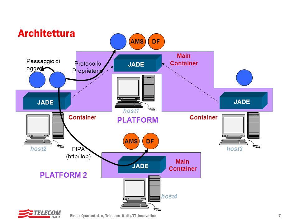 Elena Quarantotto, Telecom Italia/IT Innovation 18 CodeActivity Il metodo dellactivity contiene direttamente il codice che deve essere eseguito WebServiceActivity Il metodo dellactivity invoca un web service Puo essere statico o dinamico (non necessita limport del WSDL la generazione di classi) SubflowActivity Il metodo dellactivity invoca lesecuzione di un altro workflow Puo essere sincrono o asincrono La scelta dellagente a cui delegare il workflow puo essere effettuata a runtime SubflowJoinActivity Il metodo dellactivity sospende lesecuzione del workflow in attesa del completamento di uno o piu workflow asincroni partiti precedentemente Tipi di Activity
