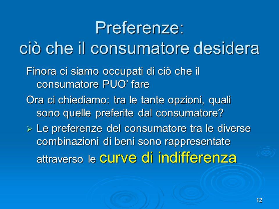 13 Cosè una curva di indifferenza Una curva di indifferenza mostra diverse combinazioni di beni che soddisfano il consumatore in eguale misura Una curva di indifferenza mostra diverse combinazioni di beni che soddisfano il consumatore in eguale misura