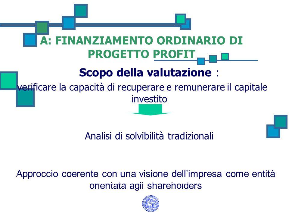 A: FINANZIAMENTO ORDINARIO DI PROGETTO PROFIT Scopo della valutazione : verificare la capacità di recuperare e remunerare il capitale investito Analis