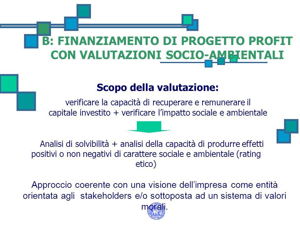 Scopo della valutazione: verificare la capacità di recuperare e remunerare il capitale investito + verificare limpatto sociale e ambientale Analisi di