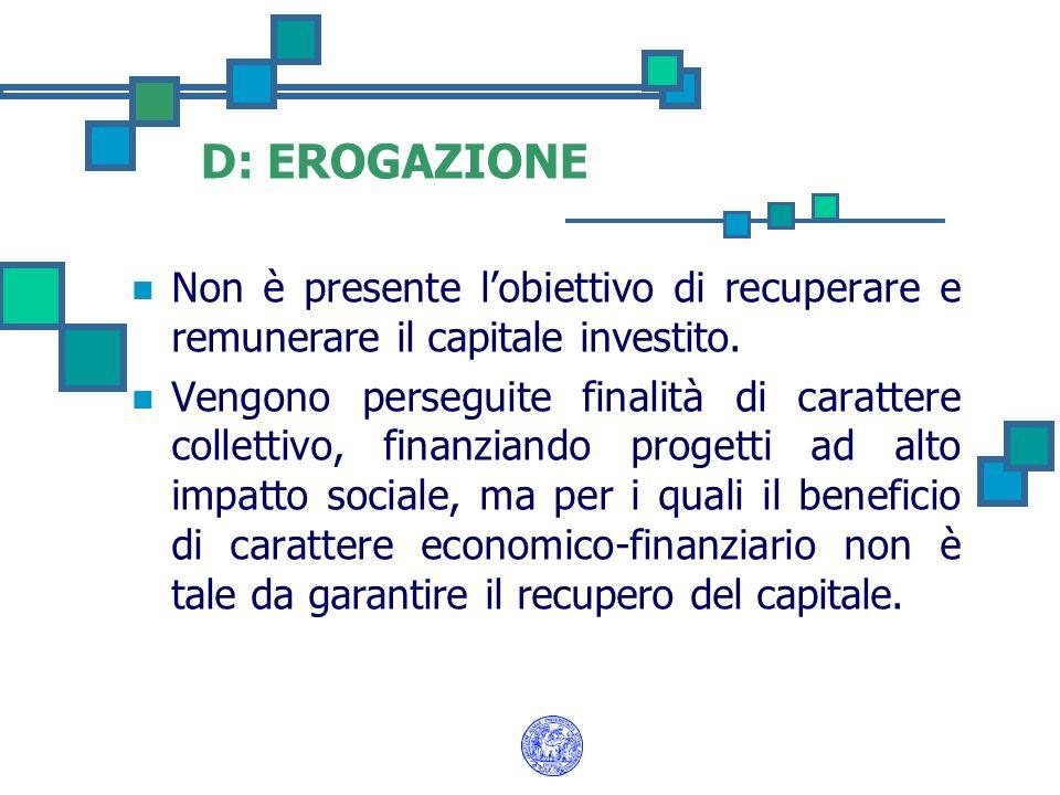 D: EROGAZIONE Non è presente lobiettivo di recuperare e remunerare il capitale investito. Vengono perseguite finalità di carattere collettivo, finanzi