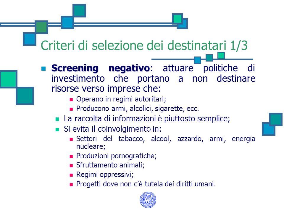 Criteri di selezione dei destinatari 1/3 Screening negativo Screening negativo: attuare politiche di investimento che portano a non destinare risorse