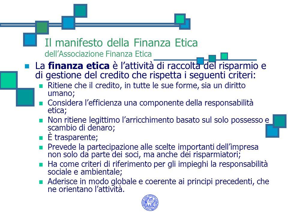 La finanza etica è lattività di raccolta del risparmio e di gestione del credito che rispetta i seguenti criteri: Ritiene che il credito, in tutte le