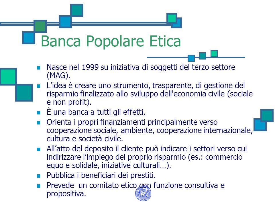 Banca Popolare Etica Nasce nel 1999 su iniziativa di soggetti del terzo settore (MAG). Lidea è creare uno strumento, trasparente, di gestione del risp