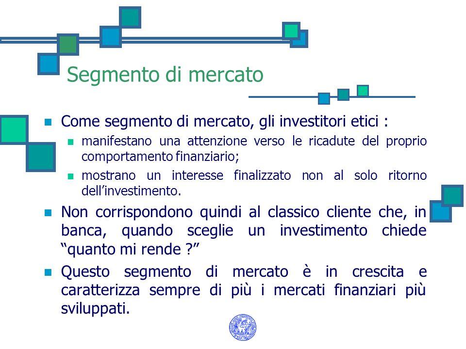 Segmento di mercato Come segmento di mercato, gli investitori etici : manifestano una attenzione verso le ricadute del proprio comportamento finanziar