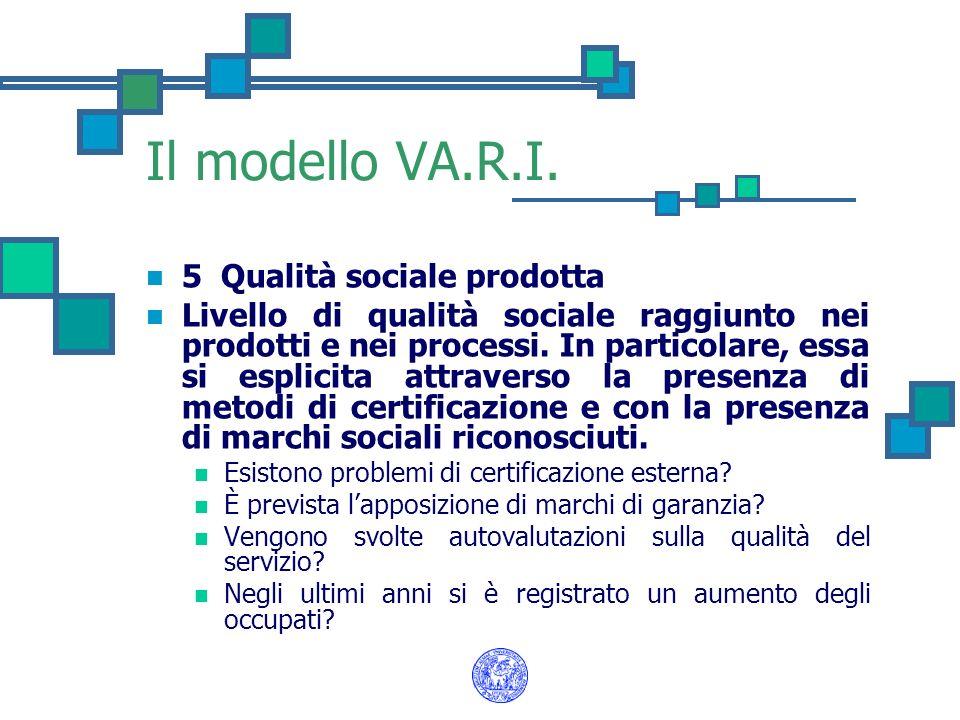 Il modello VA.R.I. 5 Qualità sociale prodotta Livello di qualità sociale raggiunto nei prodotti e nei processi. In particolare, essa si esplicita attr