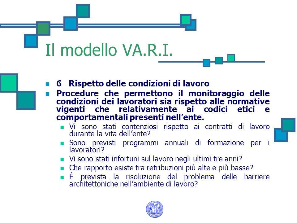 Il modello VA.R.I. 6 Rispetto delle condizioni di lavoro Procedure che permettono il monitoraggio delle condizioni dei lavoratori sia rispetto alle no