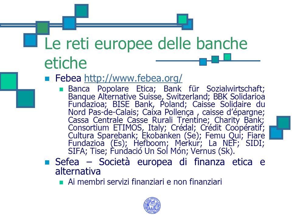 Le reti europee delle banche etiche Febea http://www.febea.org/http://www.febea.org/ Banca Popolare Etica; Bank für Sozialwirtschaft; Banque Alternati